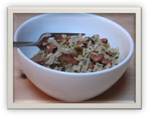 Bowl of Black Eyed Peas with Rice and Turkey Sausage
