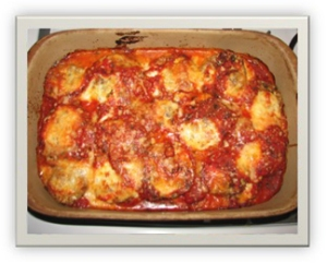 Baked Eggplant Parmigiana Cooked In Stone