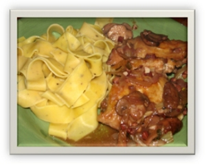 Pappardelle with Chicken, Mushrooms and Wine