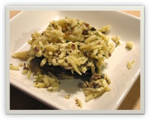 Portobellos with Orzo and Gorgonzola