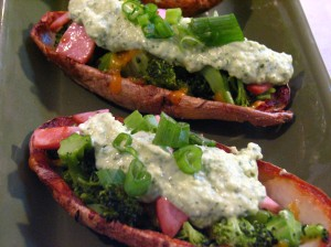 Broccoli and Cheddar-Stuffed Potato Skins with Avocado Creme