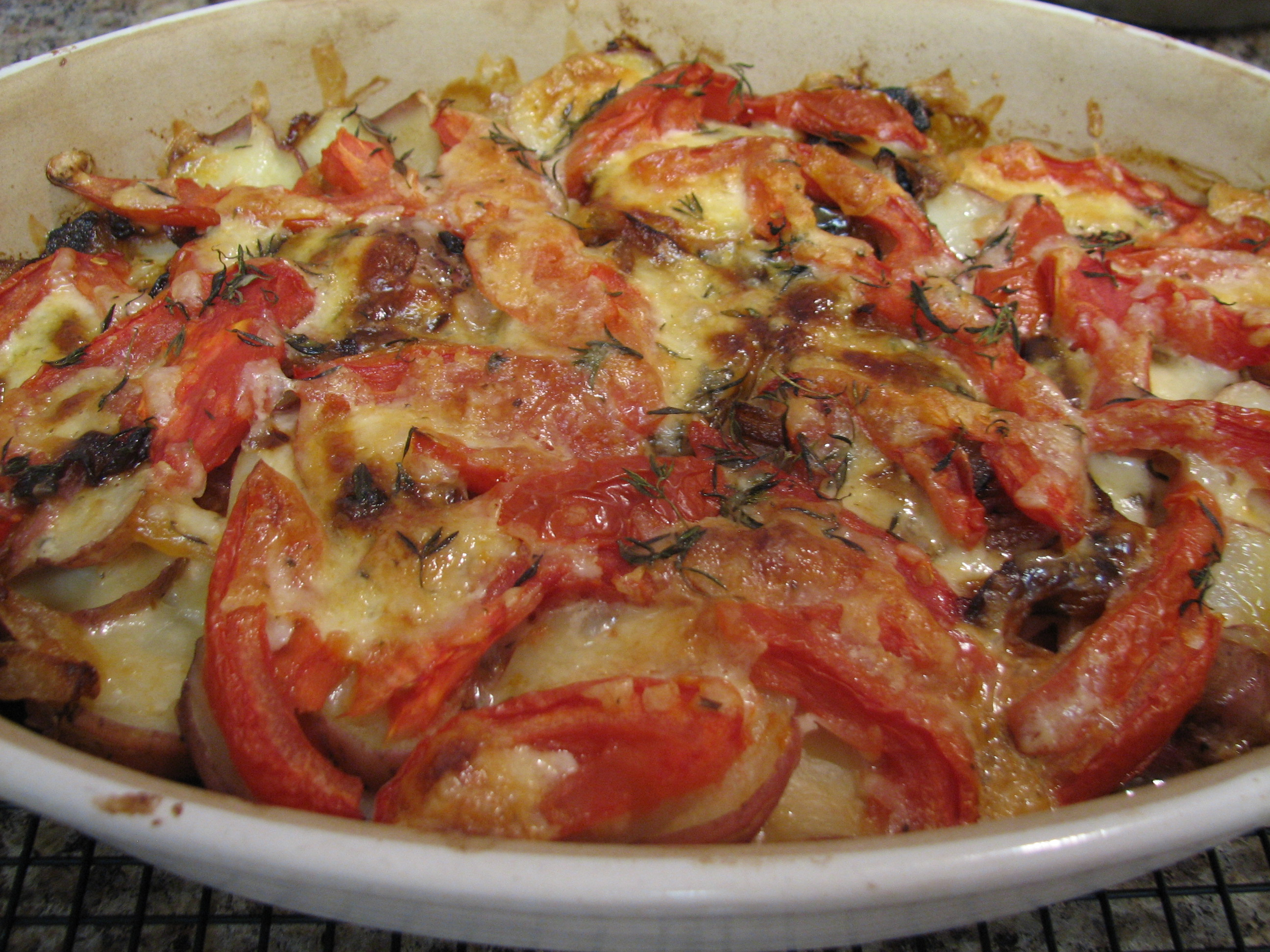 Red Potato, Onion and Tomato Gratin | Simply Healthy Cooking